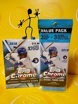 1 New 2019 Topps Chrome Baseball Blaster Box & 1 Value Pack- Excl. Sepia & Pink