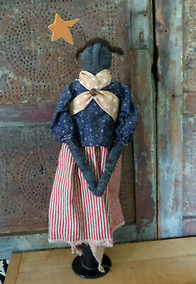 Grubby Primitive Artist Home Made Distressed Black Americana Rag Doll OOAK