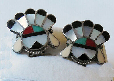 Old Pawn Native American ZUNI Sun Face Indian Chief Turquoise Inlay Earrings