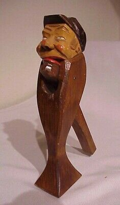 Vintage Antique Hand Carved Wood Black Forest Man With Cap Stand Up Nutcracker