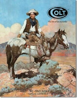 Colt Gun Metal Tin Ad Sign Fire Arm Western Cowboy Horse Picture Decor Gift