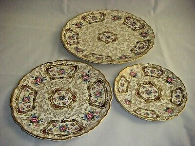 Vintage James Kent Staffordshire Old Foley Pompadour 3 Tier Tidbit Plates Only