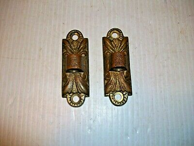 2 Antiques Brass Swing Arm Wall Brackets With Arms & Sockets Sconce Lamp Parts