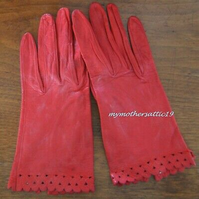 1950s pair Ladies Red Leather Gloves