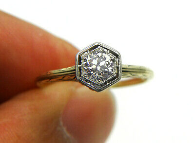 Antique Art Deco .50ct European Cut Diamond Solitaire Wedding Engagement Ring