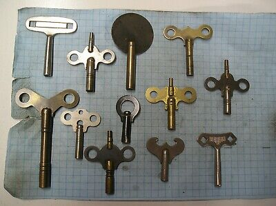 12 Clock Keys - Old - Antique