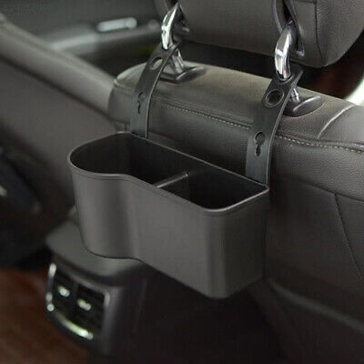 4513 Autos Car SUV Headrest Seat Back Organizer Drink Holder Storage Box Black