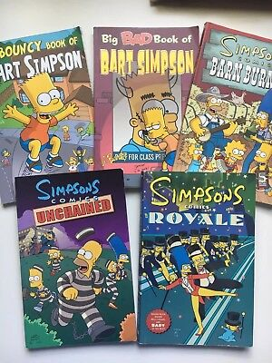 Collection of 5 assorted Simpsons comic books by Matt Groenig, paperbacks