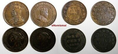 Canada Lot Of 4 Coins 1887,1896,1909,1915 1 Cent Km# 7;Km# 21;Km#8
