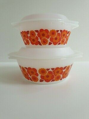 Arcopal Arc France Milk Glass Flowers 2 Casserole Dishes with Lid Mid Century