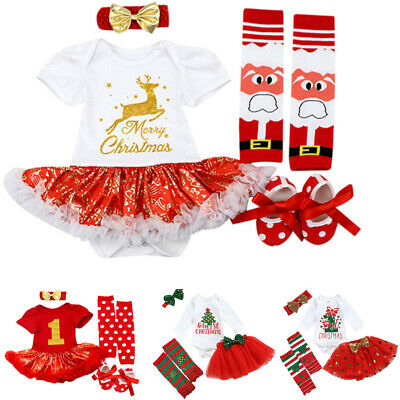 Newborn Infant Baby Girl Christmas Deer Tutu Romper Hairband Shoes Outfits Set