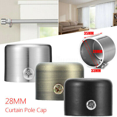 28mm Antique Steel Curtain Pole Ceiling System End Silve Cap Finial Caps UK
