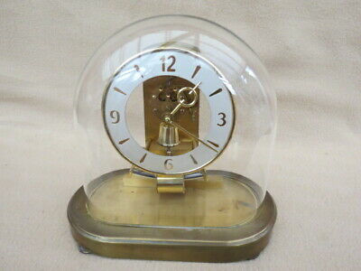 Vintage Kundo Electromagnetic Oval Glass Dome Mantel Clock For Spares Or Repair