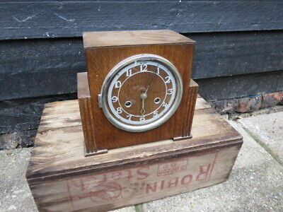 Vintage 8 Day Art Deco Bentima Striking Mantel Clock For Tlc