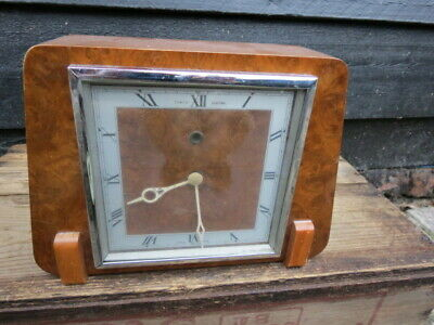 Vintage Temco Electric Burr Wood Art Deco Mantel Clock For Spares Or Repair
