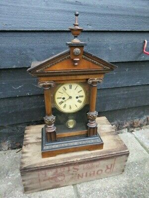 Antique Hac 1 Day Striking Shelf Clock For Spares Or Repair