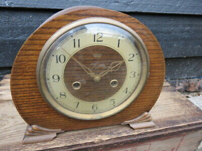 Vintage Smiths Enfield 8 Day Striking Mantel Clock For Tlc In Working Order