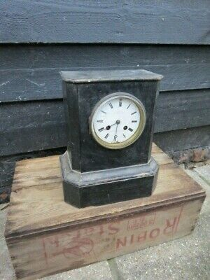 Antique Ebonised French Silk Suspension Mantel Clock For Restoration