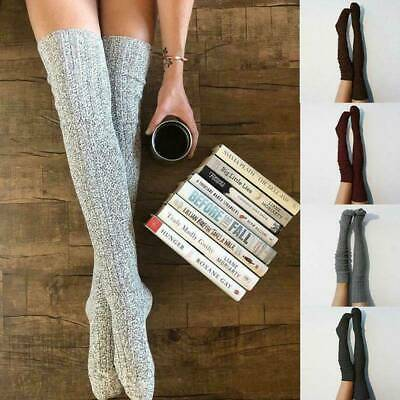 Winter Warm Cable Knit Over Knee Stockings Women Thigh-High Sock Cotton Blend