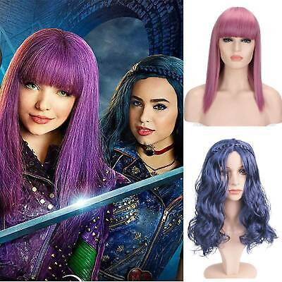 Kid Child Girl Descendants 2 Mal Evie Cosplay Wig Long Fancy Dress Costumes Wigs