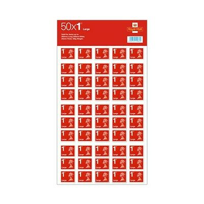 50 x Large Letter Stamps - 1st Class New Self Adhesive Red Royal Mail Stamps