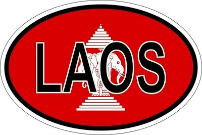"OLD LAO LAOS LAOTIAN FLAG VINYL STICKER bumper decal car Republic 2.6/"" x 4/"""