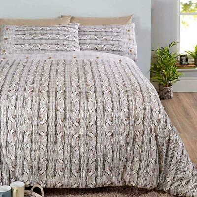 Beige Duvet Covers Flannelette Brushed Cotton Cable Knit Quilt Cover Bedding Set