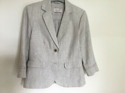 Ex Marks and Spencer Per Una Single Breasted Tipped Blazer Black Size 10-18