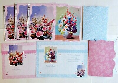Kanban 2 A4 Foiled /& Embossed Floral Frame Decoupage Card Toppers 55416//05