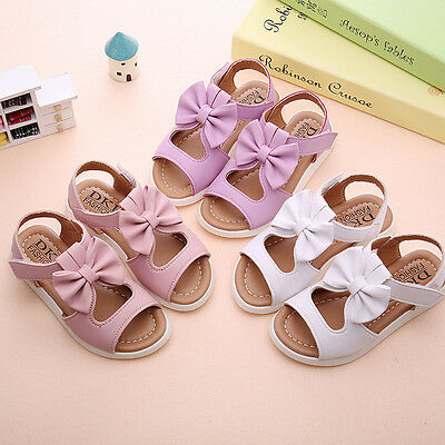 Summer Kids Child Toddler Baby Girls Beach Sandals Bow Leather Princess Shoes O1