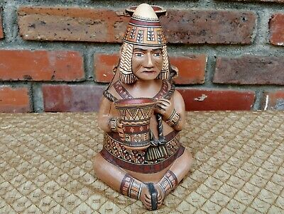 Old Painted Clay Aztec Mayan Peru Pottery Figure Vessel Signed Antonio Olave