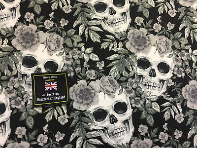 5 Metres Black & Grey Skulls & Roses Gothic Printed 100% Cotton Poplin Fabric.
