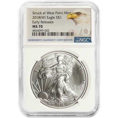 2018 (W) $1 American Silver Eagle NGC MS70 ER Bald Eagle Label