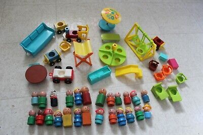 Huge Lot of Vintage Fisher Price Little People Figures Vehicles Furniture