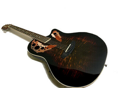 New Burst Ovat.-Style 6 String Acoustic Electric Flame Round Back Guitar