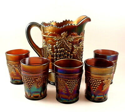 Northwood 7 Pc GRAPE & CABLE Amethyst Carnival Glass Water Pitcher Tumbler Set