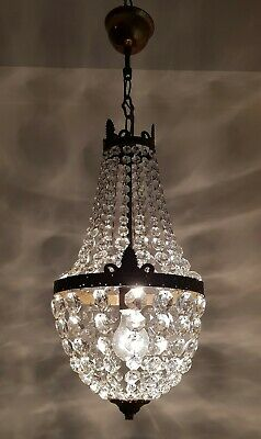 Antique Vintage Brass & Crystals French Chandelier Lighting Ceiling Lamp