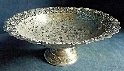 SUPERB Large ~ SILVER Plated ~ ARABIC Styled ~ Pedestal BOWL ~ c1900