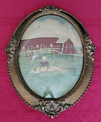 """Antique Large 24.5"""" Wood Gesso Oval Frame Convex Bubble Glass Victorian Painting"""
