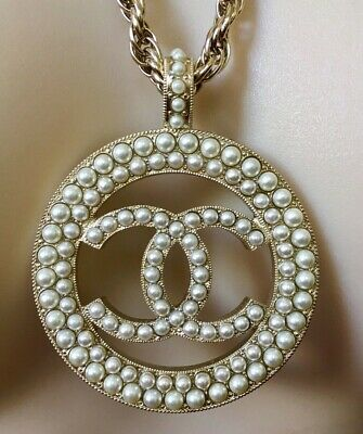Chanel Xl Cc Logo White  Pearls Round Pendant Gold Chain Necklace France