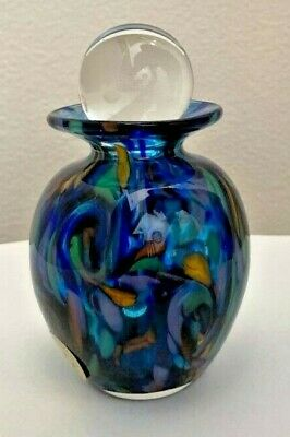 Ron Hinkle Hand Blown Glass Signed and Dated Coral Garden Potion Bottle 4.25 in