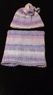 handknitted hat and snood age 2/4