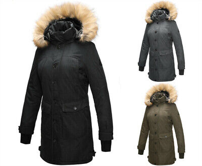 US Women Parka Winter Detachable Faux Fur Hooded Coat Windproof Jacket Trench