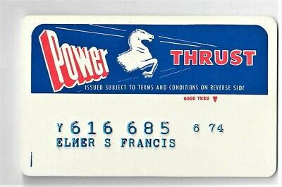 Vintage 1970's Power Thrust Gas Service Station Credit Card Horse logo Advertise