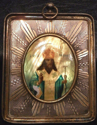 OLD ANTIQUE RUSSIAN Religious ICON PAINTING in 84 SILVER Picture FRAME Artwork