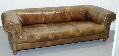 RARE ANTIQUE BROWN 4 Seater Leather Sofa By Halo - £1,250.00 ...