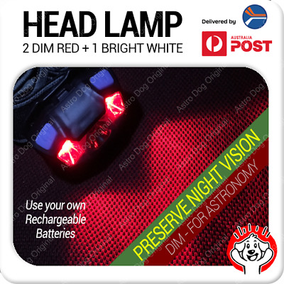 Red & White LED Astronomy Headlamp / Night Light / Head Torch with removal tool
