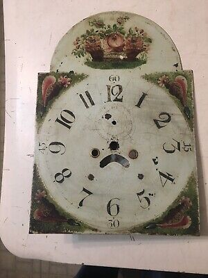 Antique Grandfather Clock Dial W/ Hand Painted Flower Basket Conch Shells