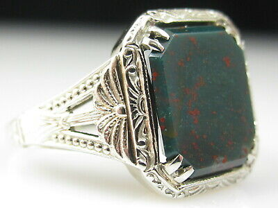 Vintage Art Deco Bloodstone Ring 14K White Gold Retro Period Antique Estate