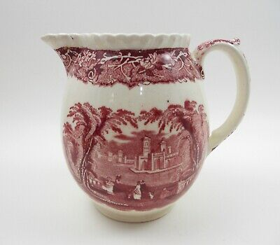 Masons Ironstone Red/Pink VISTA 16oz Pitcher Gadroon Hydra Romney Jug Medium